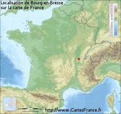 Bourg-en-Bresse sur la carte de France