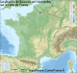 Beauvois-en-Vermandois sur la carte de France