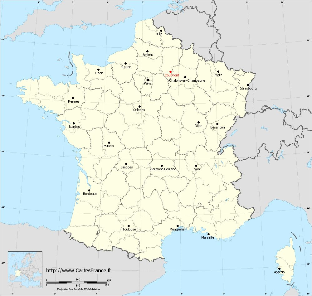 Carte administrative de Courmont
