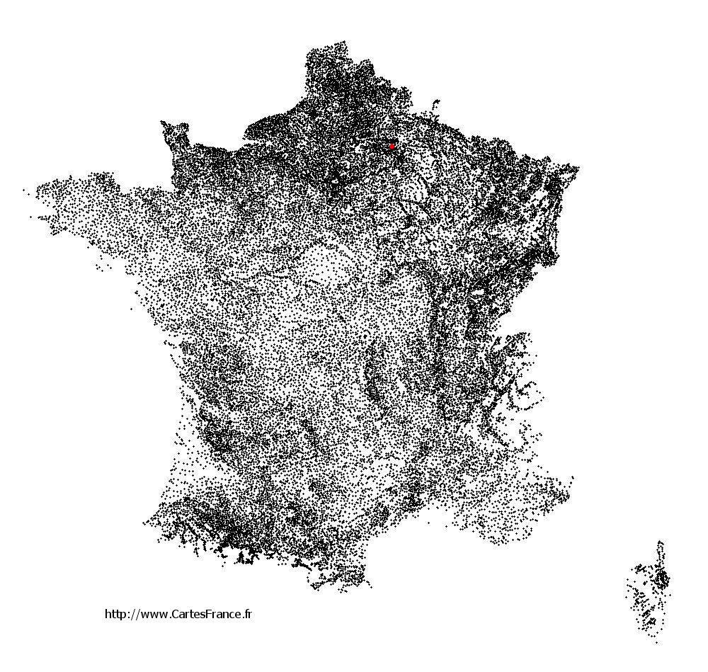 Moulins sur la carte des communes de France