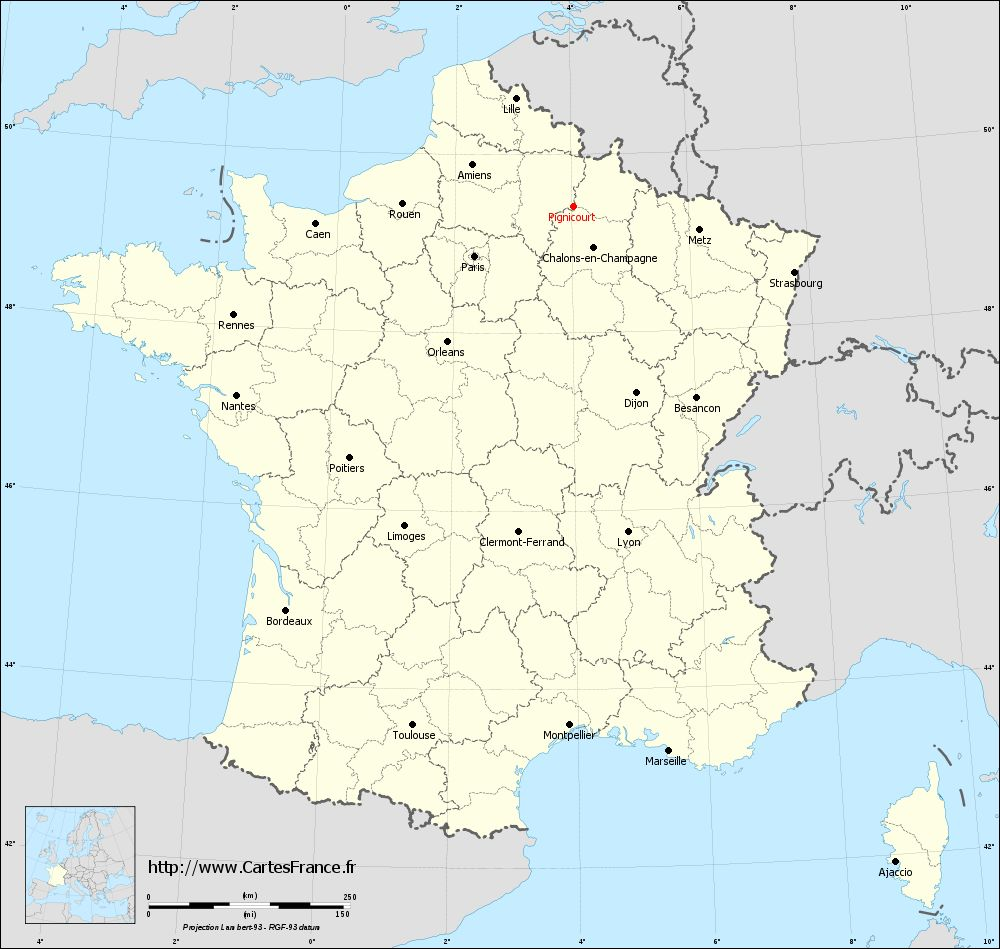 Carte administrative de Pignicourt