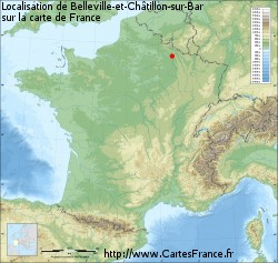 Belleville-et-Châtillon-sur-Bar sur la carte de France