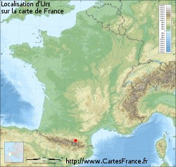 Urs sur la carte de France