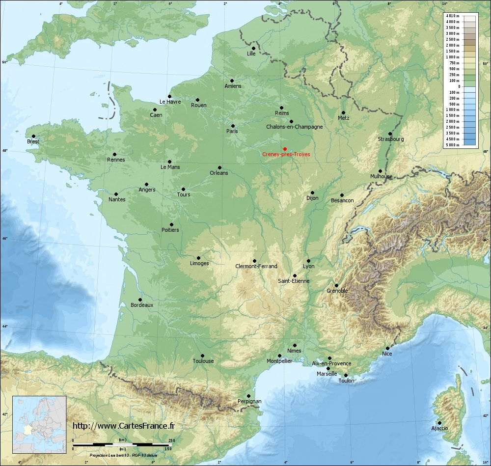 Carte du relief de Creney-près-Troyes