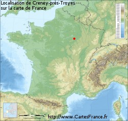 Creney-près-Troyes sur la carte de France