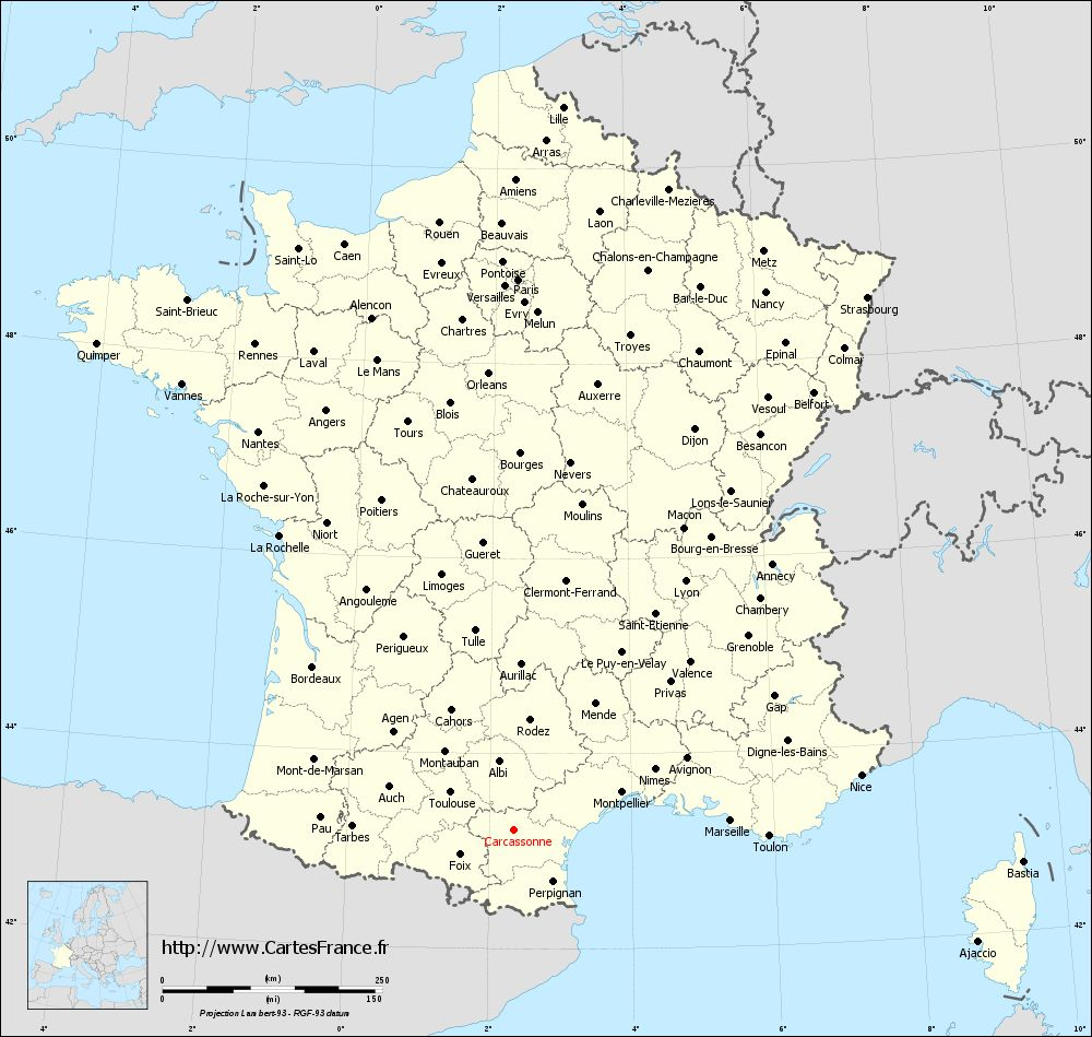 Carte administrative de Carcassonne