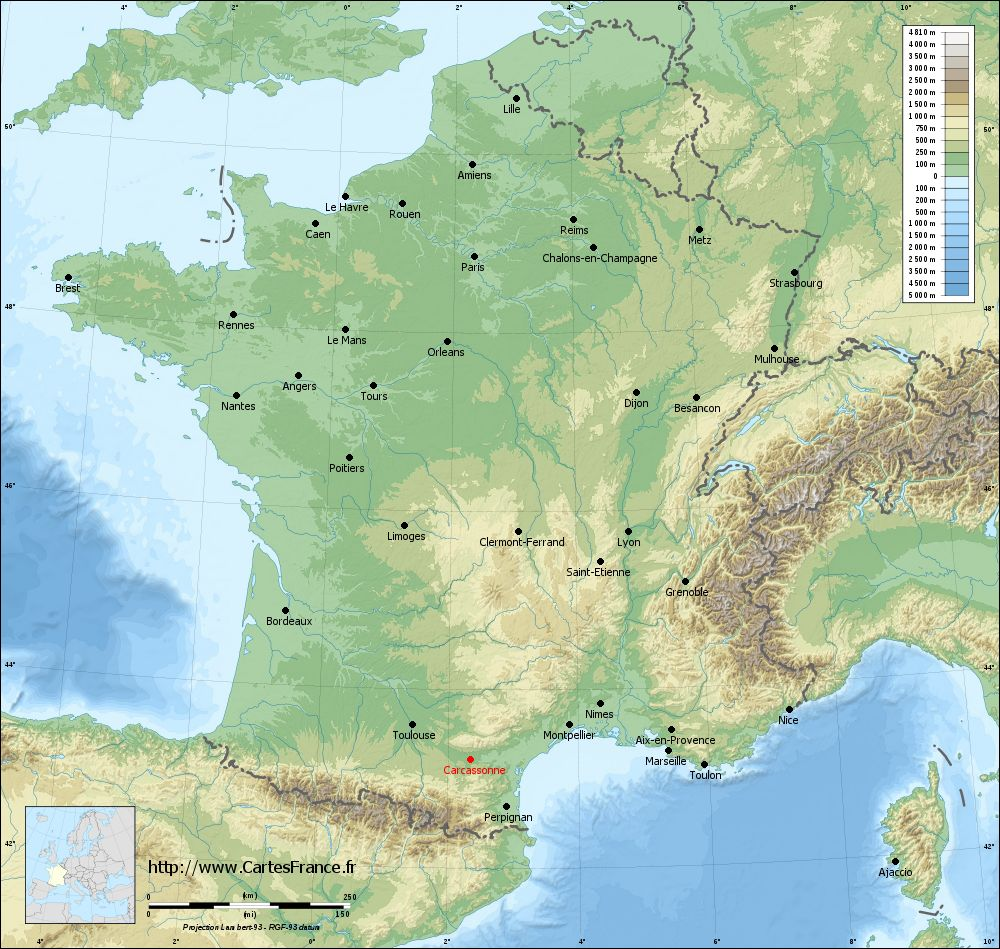 Carte du relief de Carcassonne