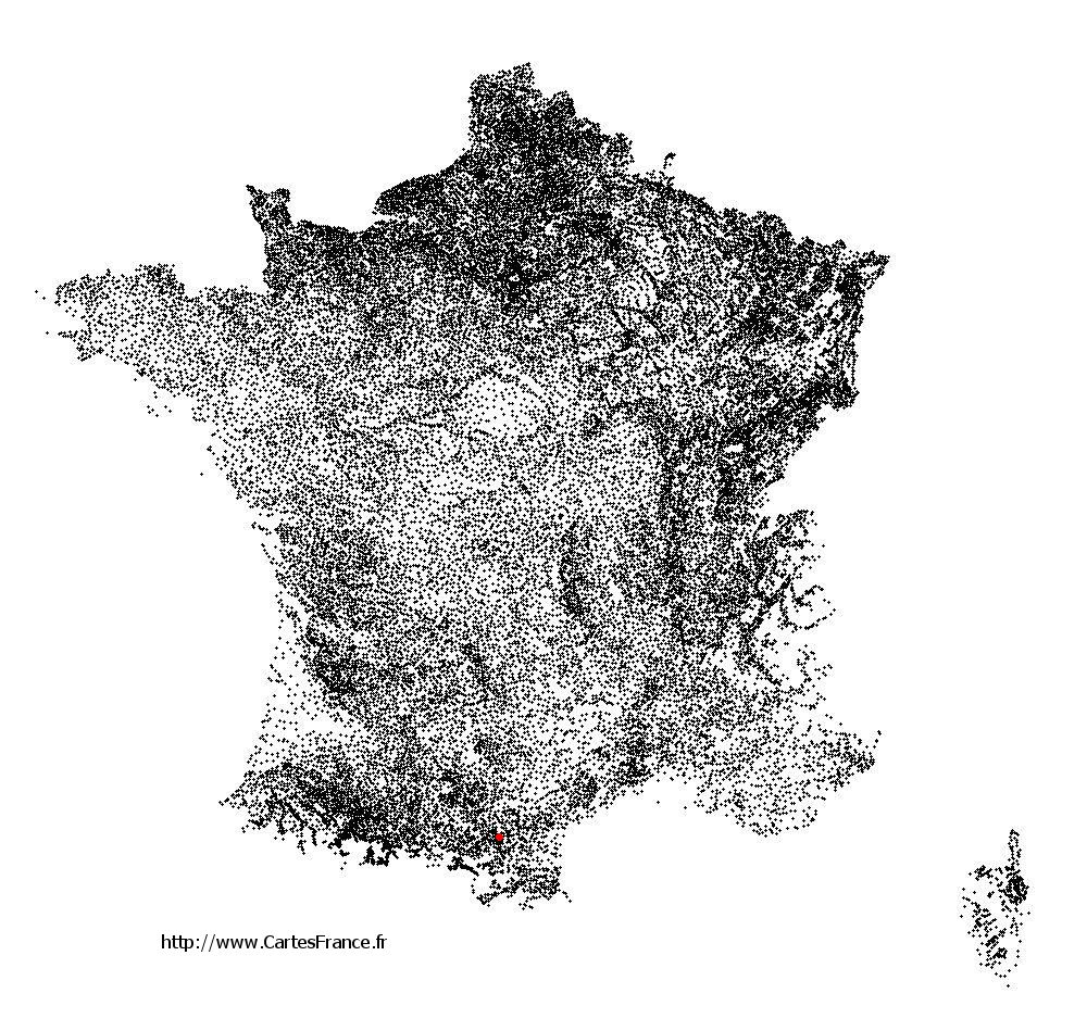 Lauraguel sur la carte des communes de France