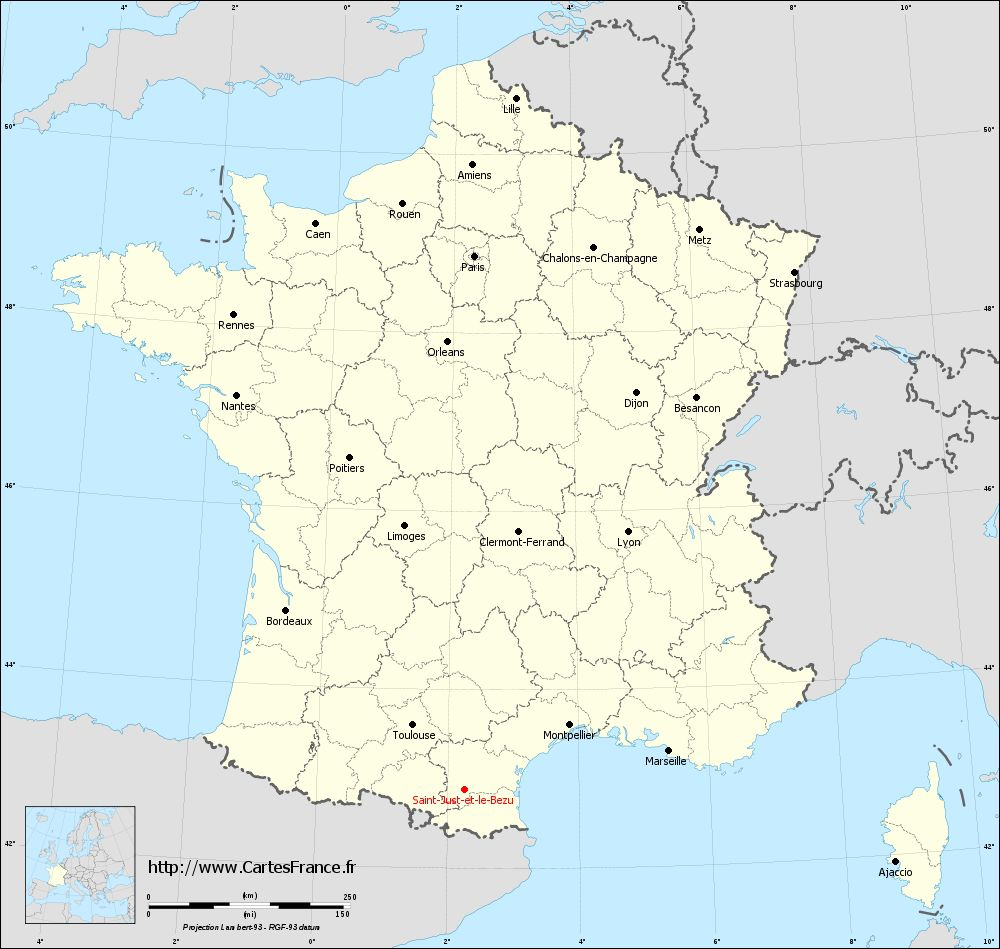 Carte administrative de Saint-Just-et-le-Bézu