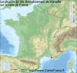 10e Arrondissement de Marseille sur la carte de France
