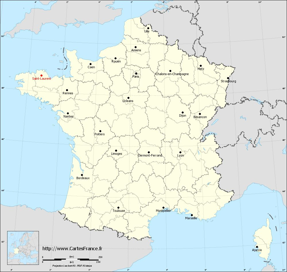 Carte administrative de Saint-Laurent