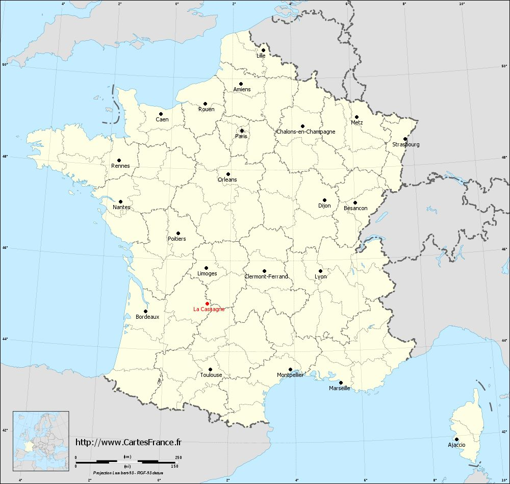 Carte administrative de La Cassagne