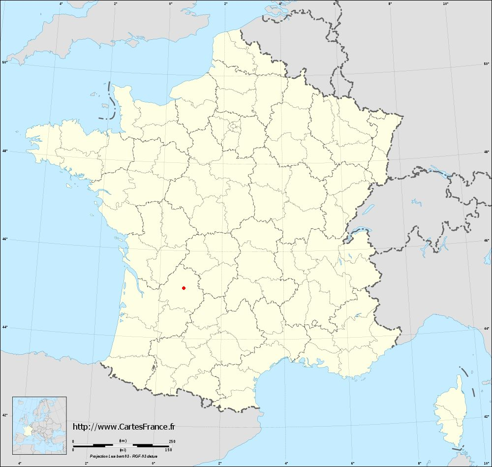 Fond de carte administrative de Saint-Laurent-sur-Manoire