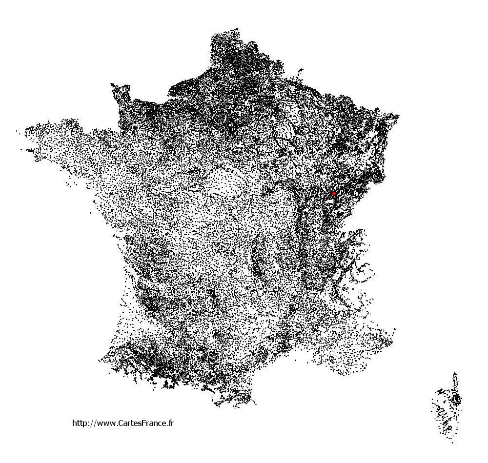 Franey sur la carte des communes de France