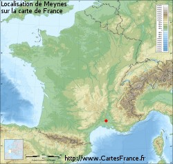 Meynes sur la carte de France
