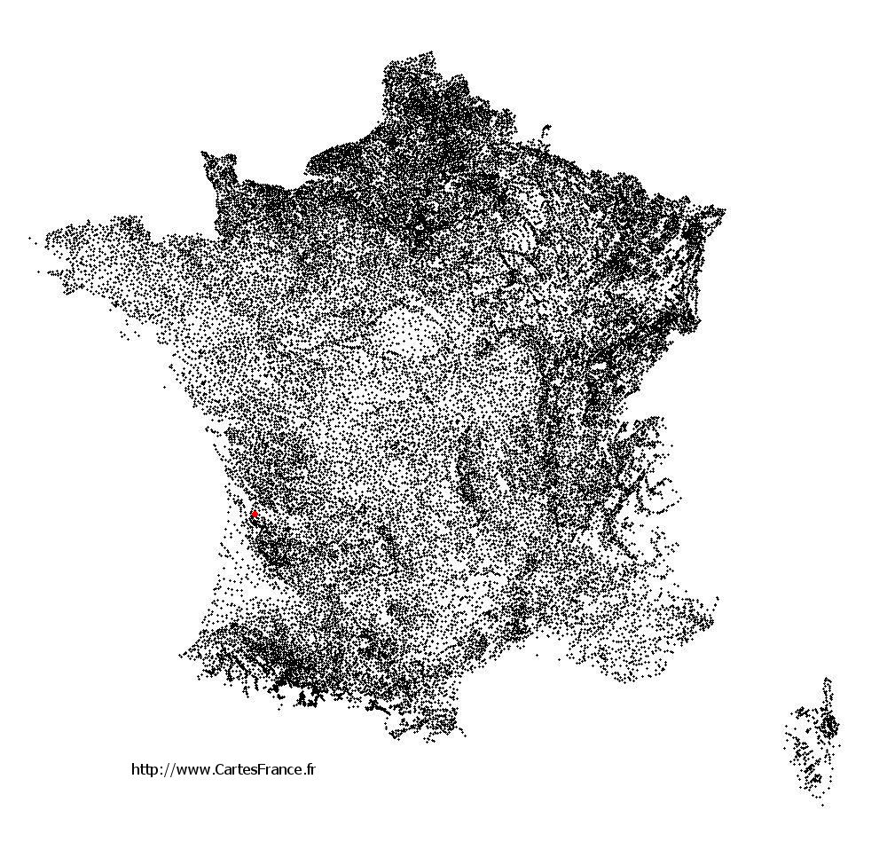 Cartelègue sur la carte des communes de France