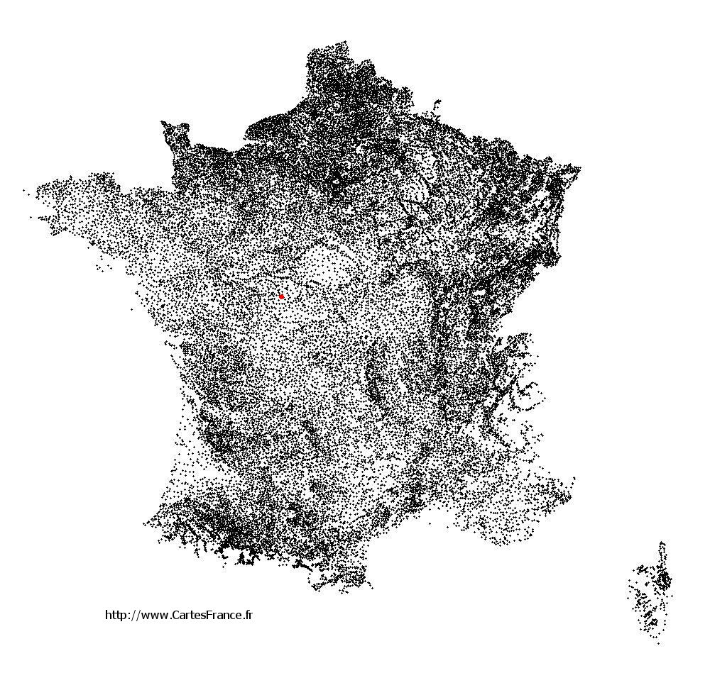 Bridoré sur la carte des communes de France