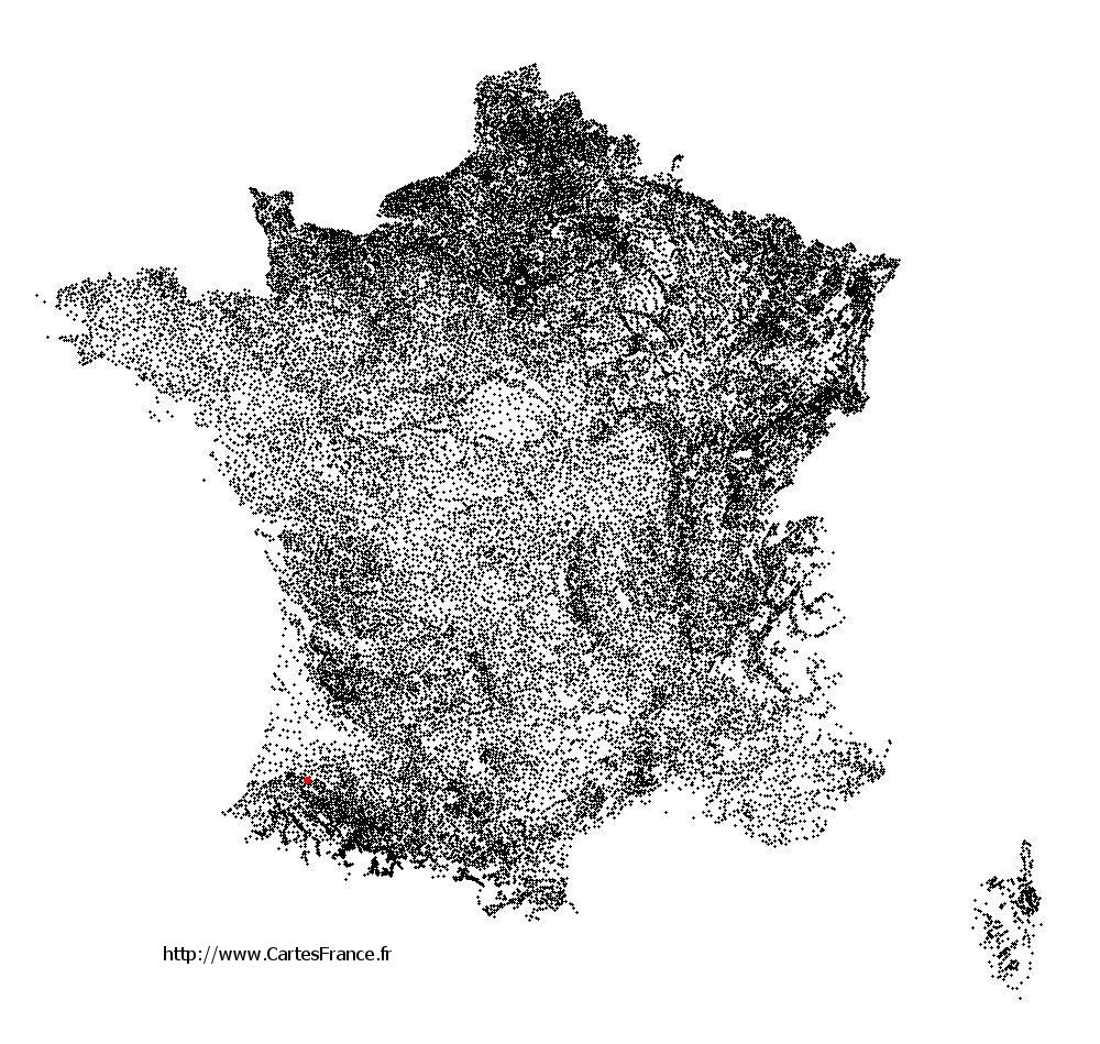 Audignon sur la carte des communes de France
