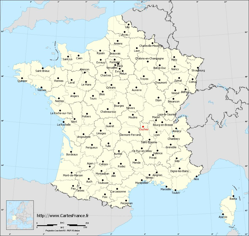 Carte administrative d'Ouches