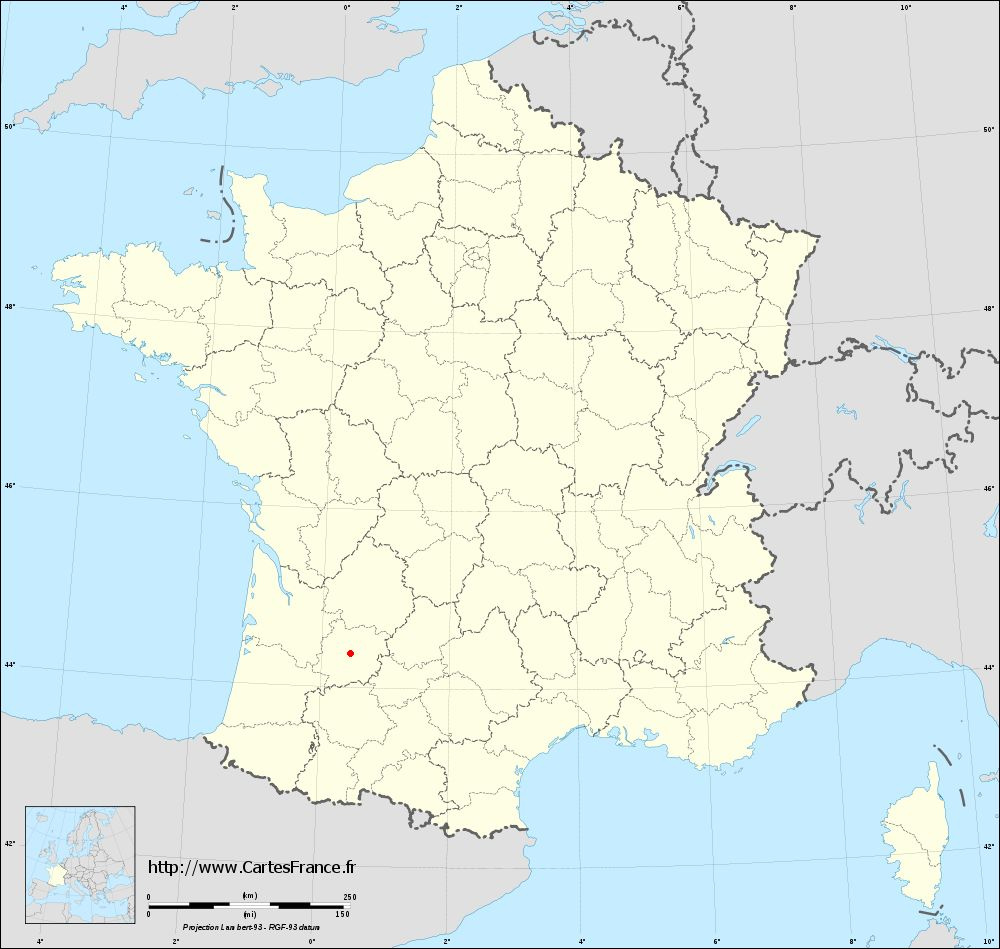 Fond de carte administrative de Granges-sur-Lot