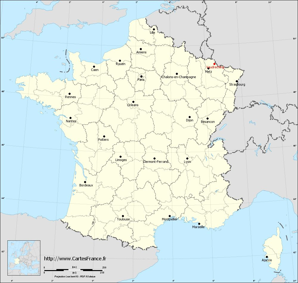 Carte administrative de Vaudreching