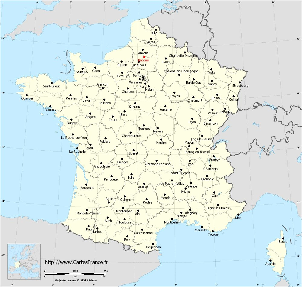 Carte administrative de Bacouël