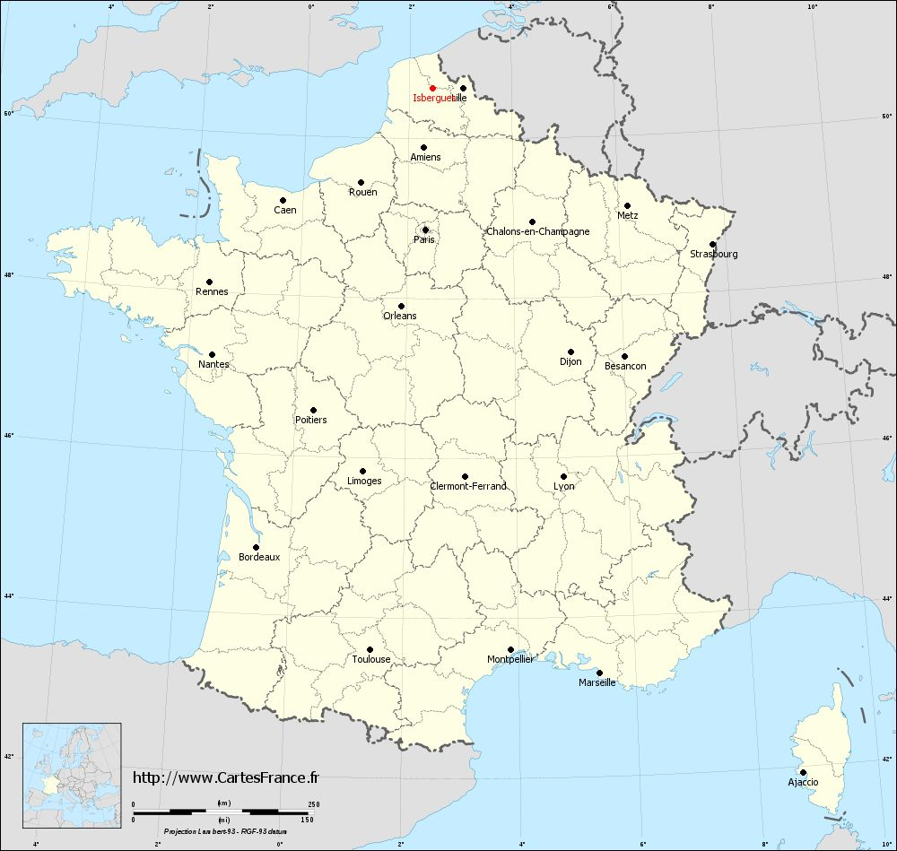Carte administrative d'Isbergues
