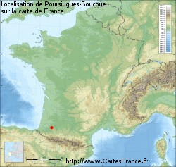 Poursiugues-Boucoue sur la carte de France