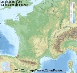 Urt sur la carte de France