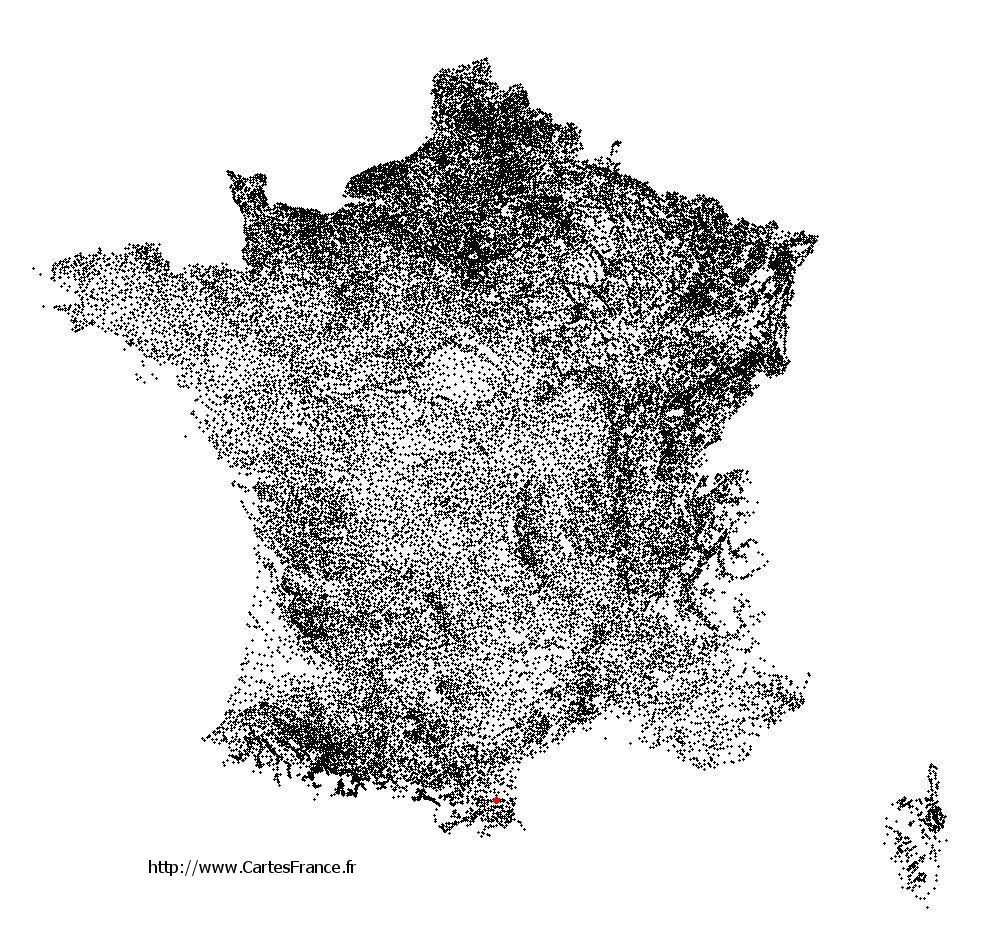 Calce sur la carte des communes de France