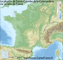 Sainte-Colombe-de-la-Commanderie sur la carte de France