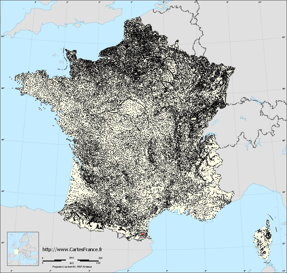 Terrats sur la carte des communes de France
