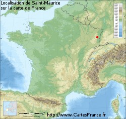 Saint-Maurice sur la carte de France