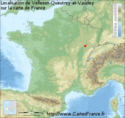 Vellexon-Queutrey-et-Vaudey sur la carte de France