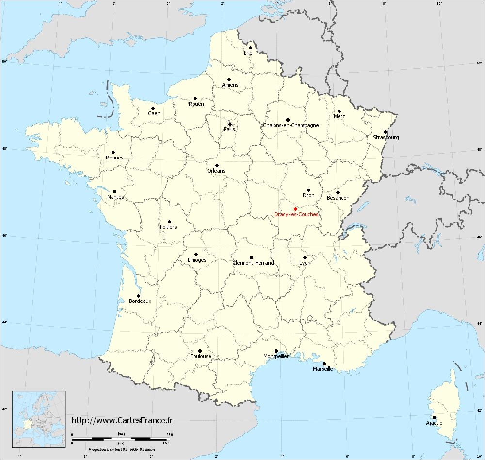 Carte administrative de Dracy-lès-Couches