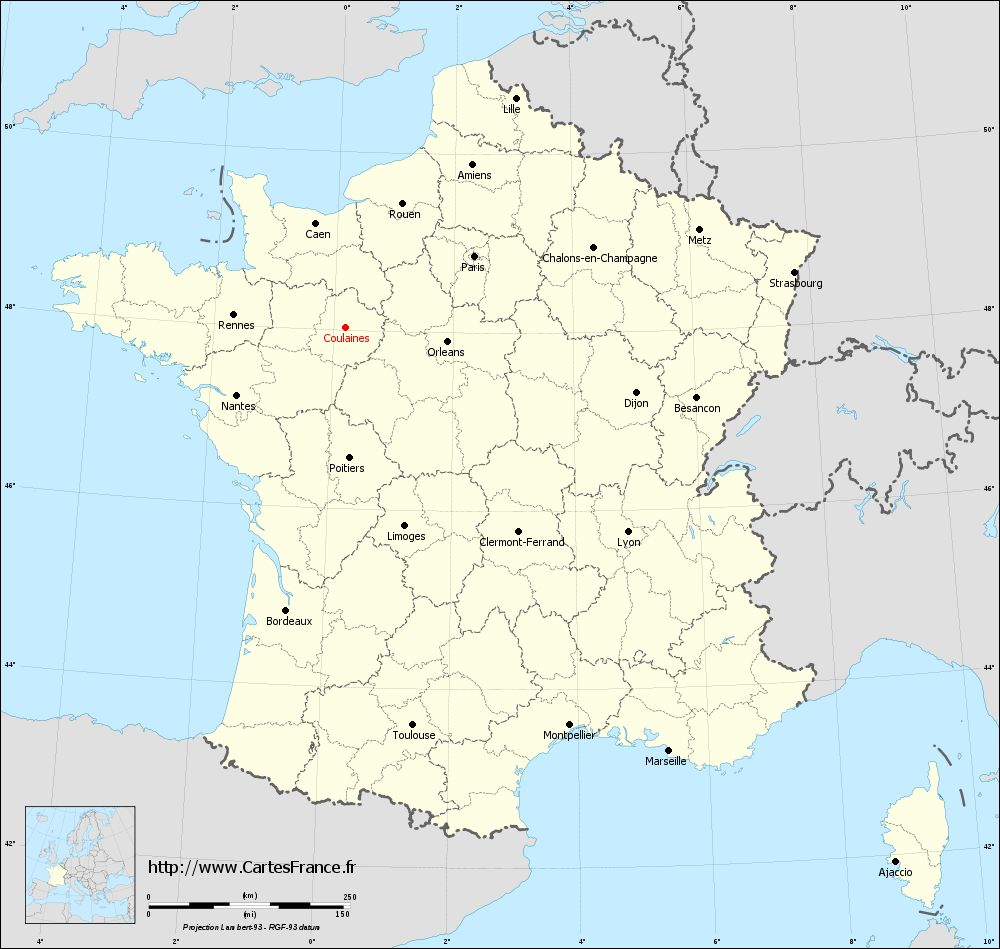 Carte administrative de Coulaines