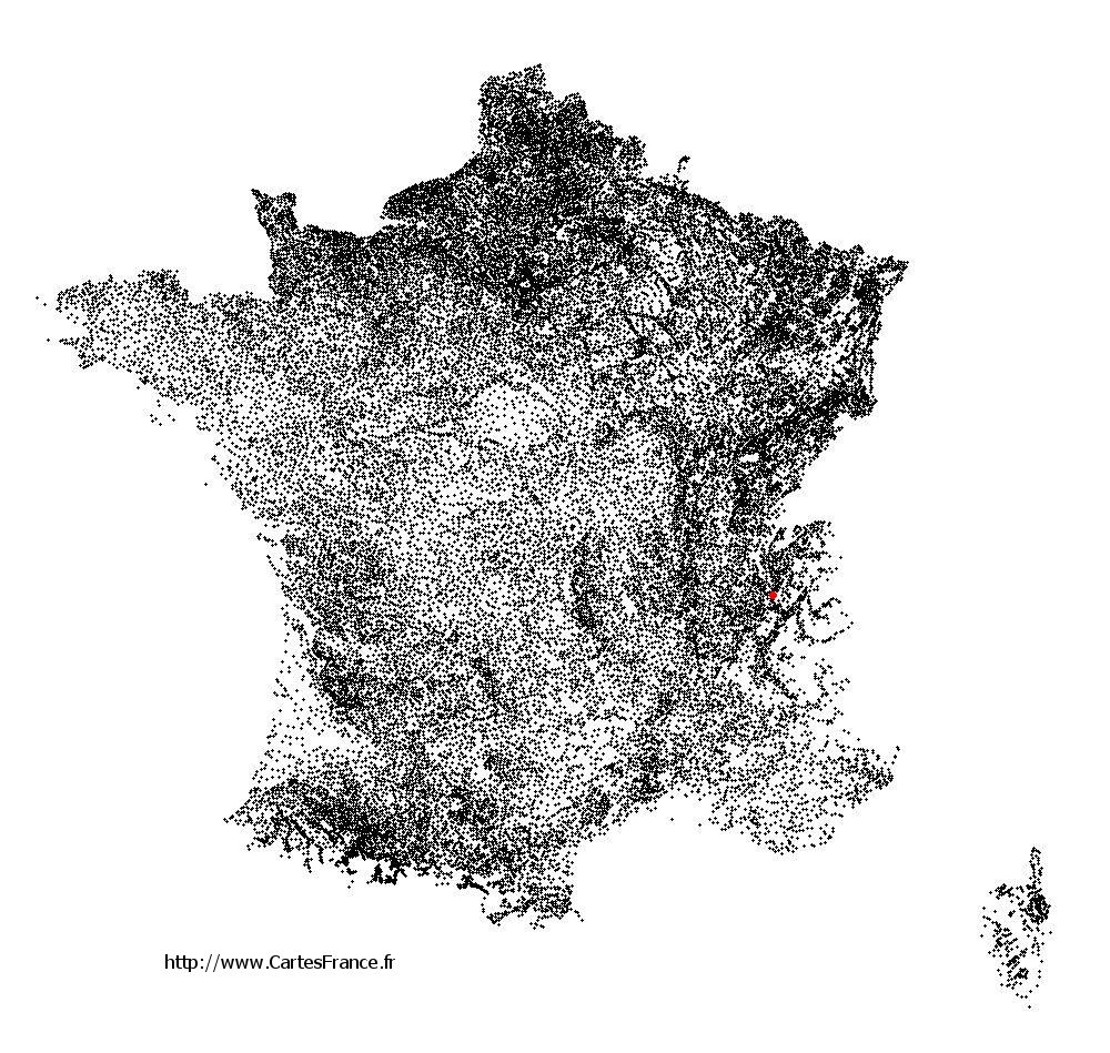 Mouxy sur la carte des communes de France