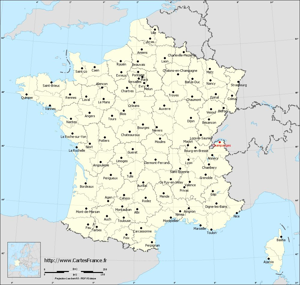 Carte administrative de Champanges