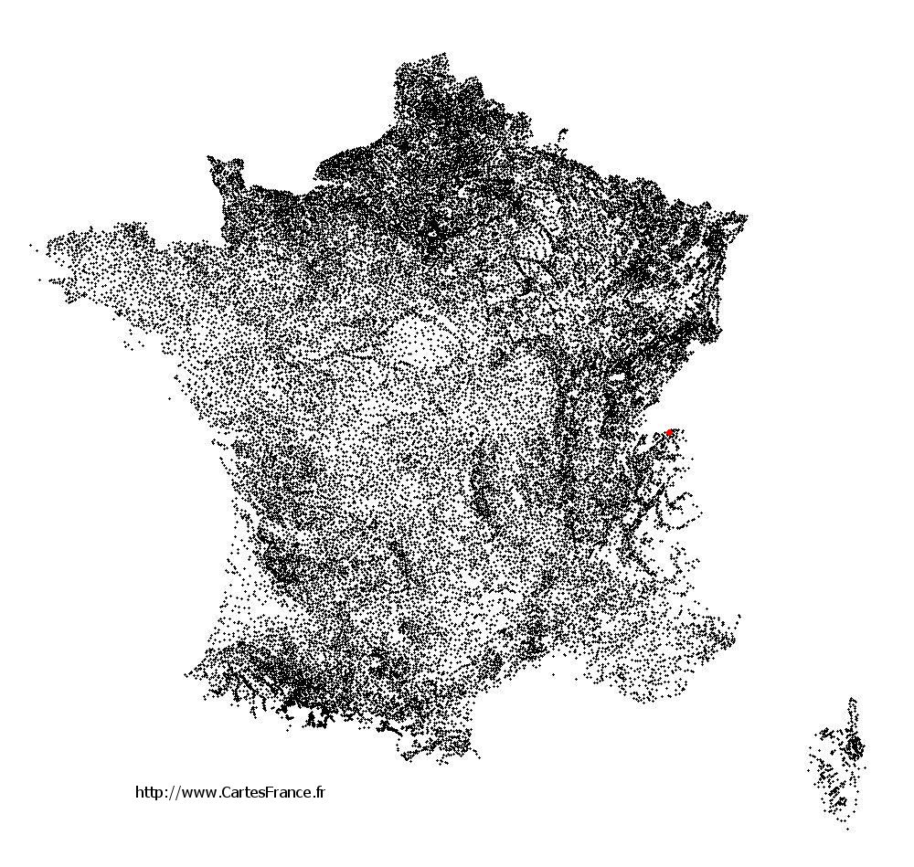 Champanges sur la carte des communes de France
