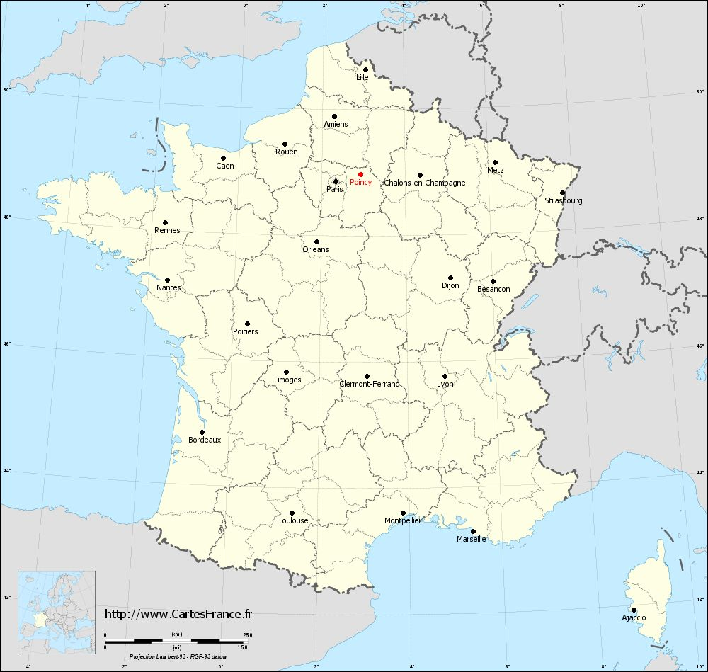 Carte administrative de Poincy