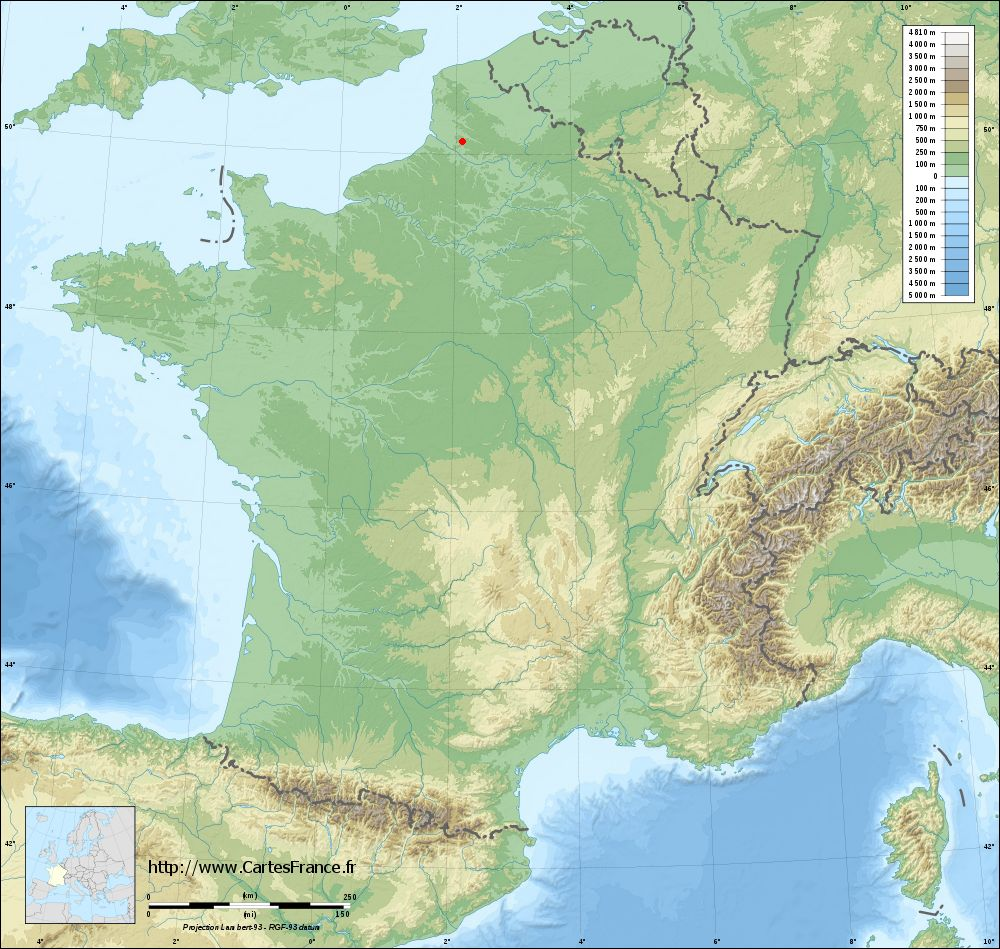 Fond de carte du relief de Beaumetz