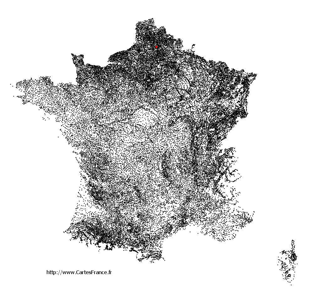 Courcelette sur la carte des communes de France