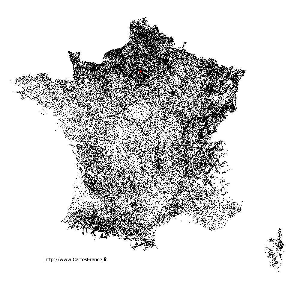 Villiers-Adam sur la carte des communes de France