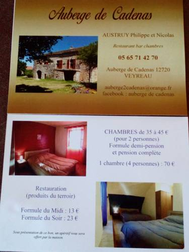 Hebergement auberge de cadenas hebergement veyreau 12720 for Liste des hotels en france
