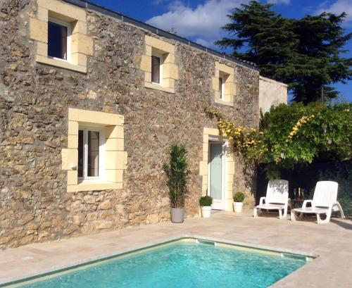 La Porte Bleue with Private Heated Outdoor Pool : Hebergement proche de Pellegrue