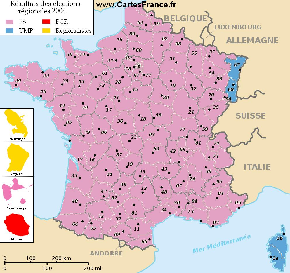 carte election regionale 2004