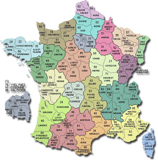 carte des departements et regions