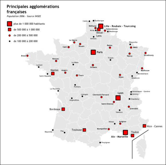 Carte de France Agglomération