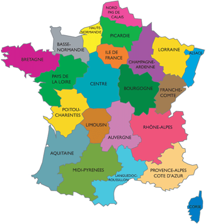 Carte des rgions de France