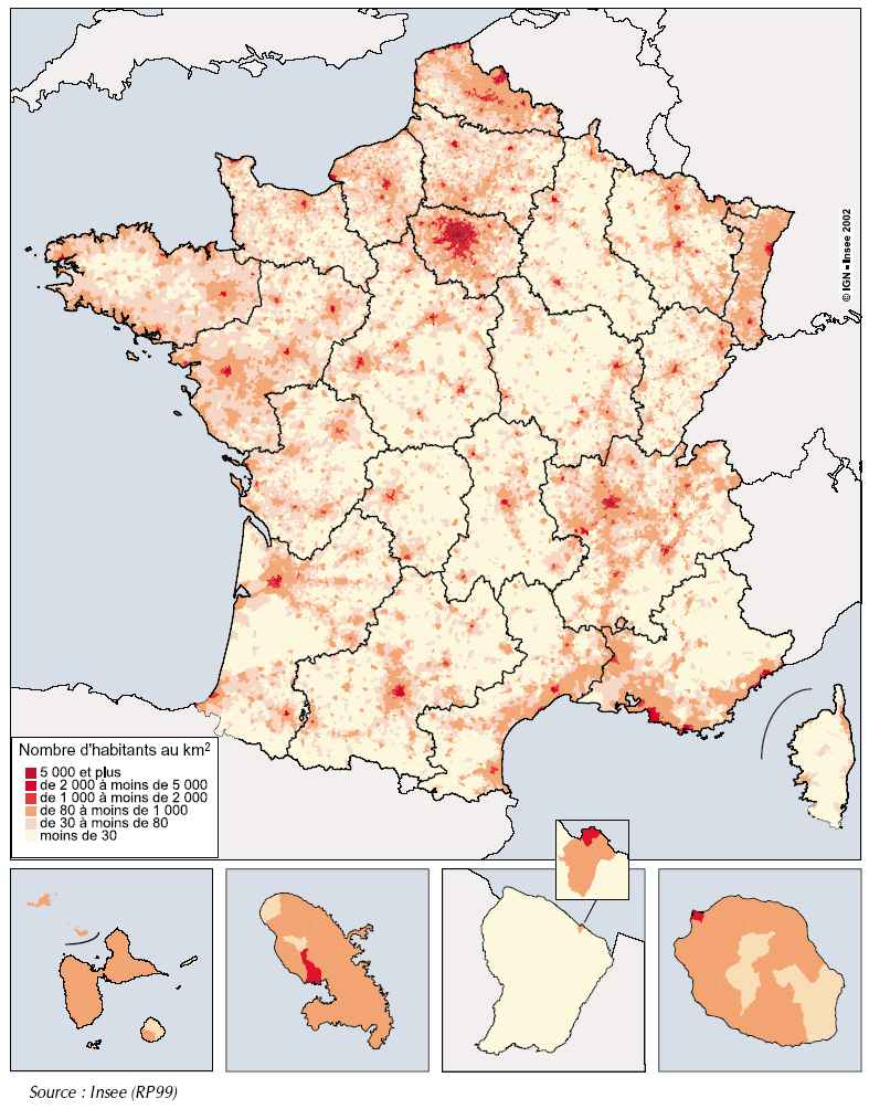 Carte de France de la repartition de la population
